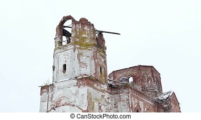 ruined church ruins of the castle on a white background -...