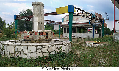 ruined city and fountain - ruined abandoned Ukraine city...