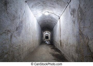 Ruined corridor with lamps. - Ruined corridor in a World War...