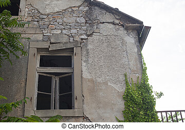 ruined facades in the city center