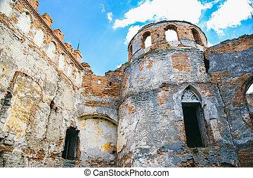 Wall ruined fortress Medzhibozh. Ukrainian architectural monument