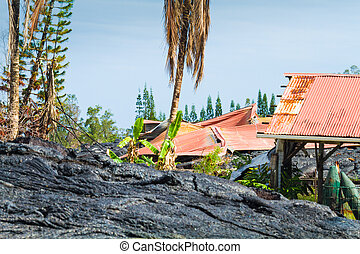 Ruined home - Home ruined by advancing lava in the town of...
