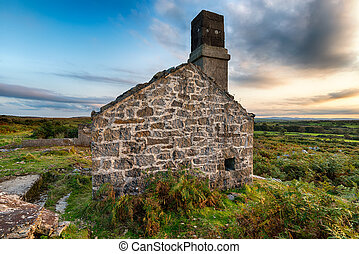 Ruined House - An old abandoned ruin on Carbilly Tor on...