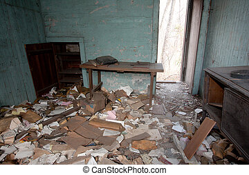 Ruined House - Trashed room in an old abandoned house