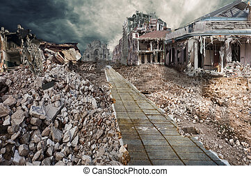 Ruined houses of street - Manipulation of the ruined city's...