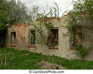 Ruined old house - The wall and windows in ruined old house....