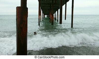 Ruined rusty pier