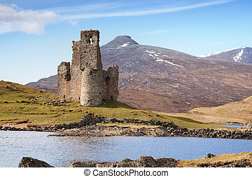 ruined scottish castle - Ardvreck Castle on the shore of...
