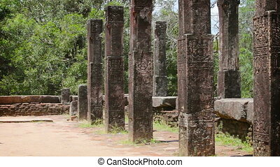 ruined temple in Anuradhapura - Columns of the ancient...