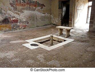 Ruined villa at the ancient Roman city of Herculaneum, Italy