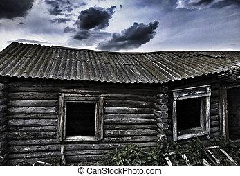 Ruined wood houses.