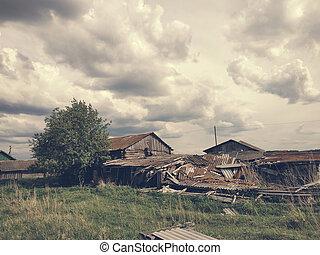 Ruined wood houses
