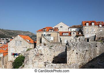 ruinen, in, der, alte stadt, von, dubrovnik, kroatien