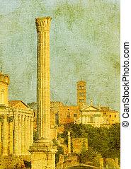 ruinen, italien, weinlese, bild, rom, römisches