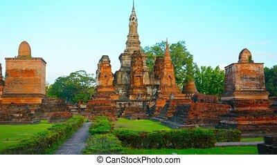 ruines, coup, thaïlande, surréaliste, ancien, perspective