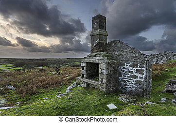 ruines, crépuscule