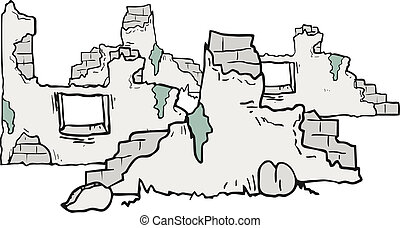 ruines, dessin animé