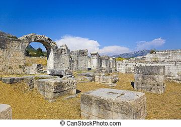 ruines, fente, Ancien, Croatie, amphithéâtre
