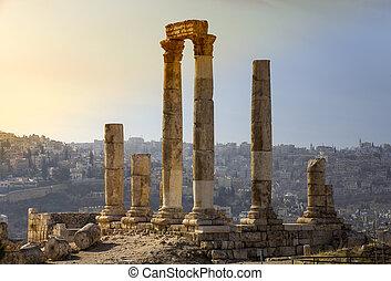 ruines, jordanie, amman, citadelle, ancien