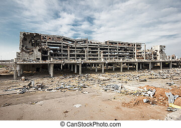 ruines, large, vue, donetsk, angle, aéroport