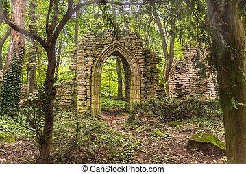ruines, profond, lumière soleil, forêt