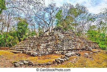 ruines, pyramide, balamku, maya, mexique