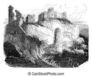 ruines, richard, construit, normandie, gaillard, engraving...