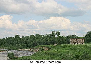 ruines, rive, maison