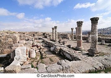 ruines, -, romain, jordanie, amman, citadelle