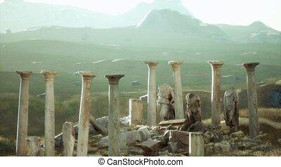 ruines, vieux, romain, coucher soleil, temple