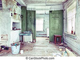ruinous, maison pays, intérieur