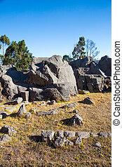ruins-, 作られた, 位置を定められた, 公園, 考古学的, -, qenko, サイト,...