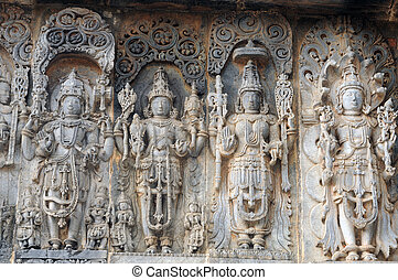 Ruins - Ancient sculptures in ruins at an indian temple