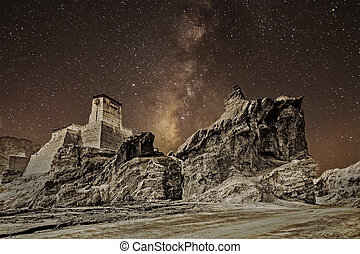 Ruins and Basgo Monastery, Leh, Ladakh, Jammu & Kashmir, India