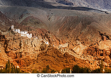 Basgo Monastery surrounded with stones and rocks , Leh, Ladakh, Jammu and Kashmir, India