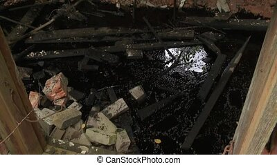 Ruins and toxic material remains in abandoned building....