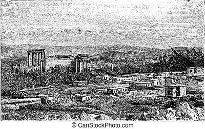 Ruins at Baalbek, Ancient Babylon vintage engraving. - Ruins...