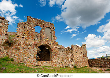 Ruins at the Greek Mystras - Landscape with ruins in the...