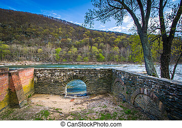 Ruins at Virginius Island, in Harpers Ferry, West Virginia.
