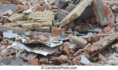 Driving Through Collapsed Houses Buildings Debris Danger