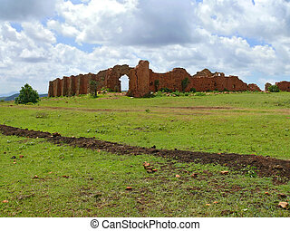 Ruins. Former defensive ancient fortification. Africa, Ethiopia.