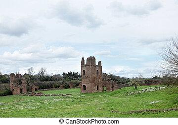 Ruins from Circo di Massenzio in Via Apia Antica at Roma - ...