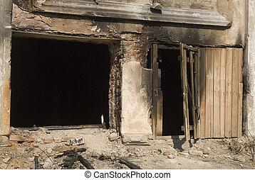 image of old burnt building