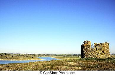 ruins in alqueva lake,Portugal