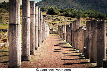 ruins in ancient city of Messina, Greece