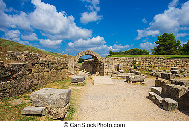 The entrance in ancient Olympia Stadium in Ancient Olympia, Peloponnes, Greece