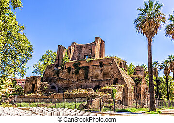 Ruins in the park Giardini Nicola Calipari, Rome