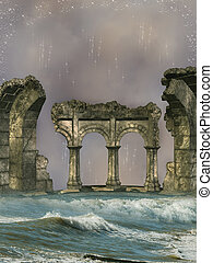 Fantasy ruins in the sea with stars