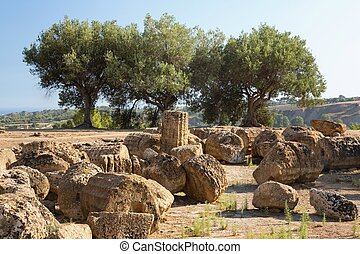 Ruins near the Temple of Castor and Pollux, Agrigento, Valley of the Temples.