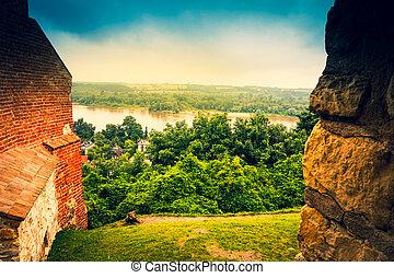Ruins of a castle in Kazimierz Dolny, Wisla River, Poland
